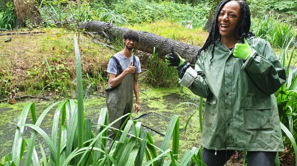 young black people waterproof water outdoors london wildlife trust